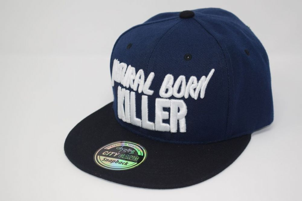 C4859 'NATURAL BORN KILLER' Black/Navy Snapback Caps one size fits all adjustable